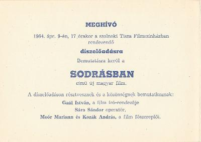 Sodrásban című új magyar film díszelőadása a szolnoki Tisza Filmszínházban