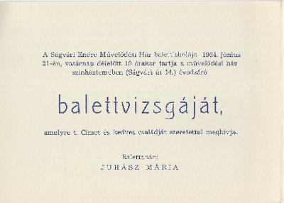 Ságvári Endre Művelődési Ház Balettiskolájának vizsgája
