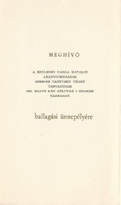 Varga Katalin Gimnázium Ballagási meghívója