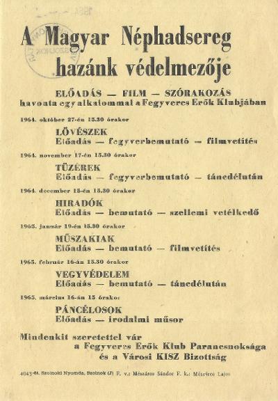 A Magyar Néphadsereg hazánk védelmezője. Előadások a Fegyveres Erők Klubjában.