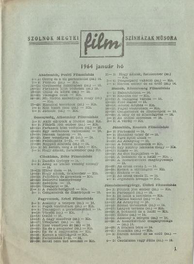 Szolnok megyei Filmszínházak műsora. 1964. január hó