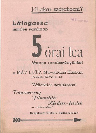 5 órai tea táncos rendezvény