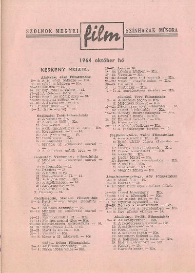 Szolnok megyei Filmszínházak műsora. Keskeny mozik 1964. október hó