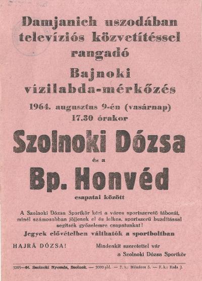 Szolnoki Dózsa - Bp. Honvéd bajnoki vízilabda mérkőzés
