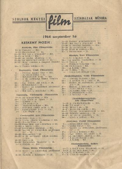 Szolnok megyei Filmszínházak műsora. Keskeny mozik 1964. szeptember hó