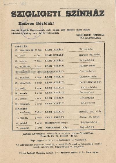 Szigligeti Színház 1964. február-márciusi előadásai