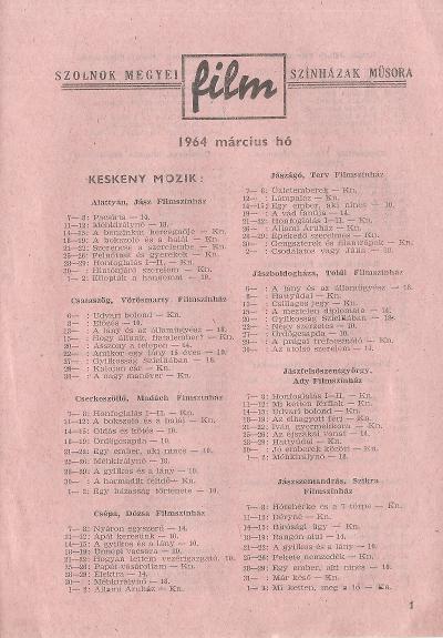 Szolnok megyei Filmszínházak műsora. Keskeny mozik 1964. március hó