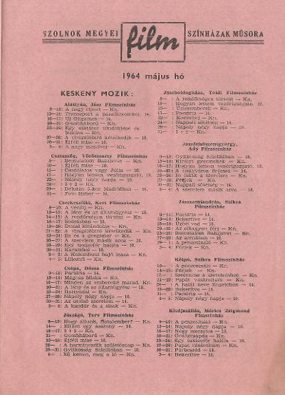 Szolnok megyei Filmszínházak műsora. Keskeny mozik 1964. május hó