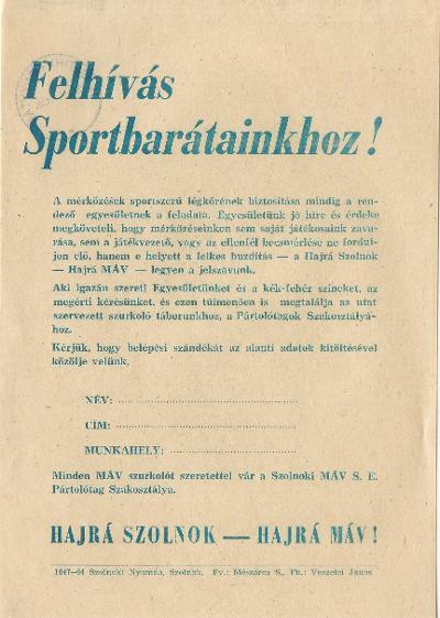 Felhívás Sportbarátainkhoz!