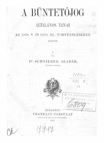 Schnierer Aladár 1882.