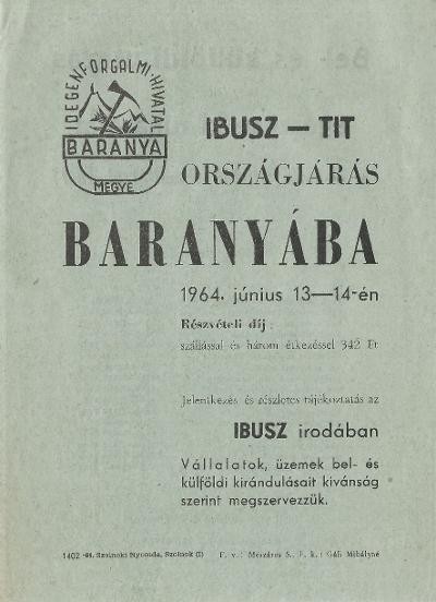 IBUSZ-TIT országjárás Baranyába