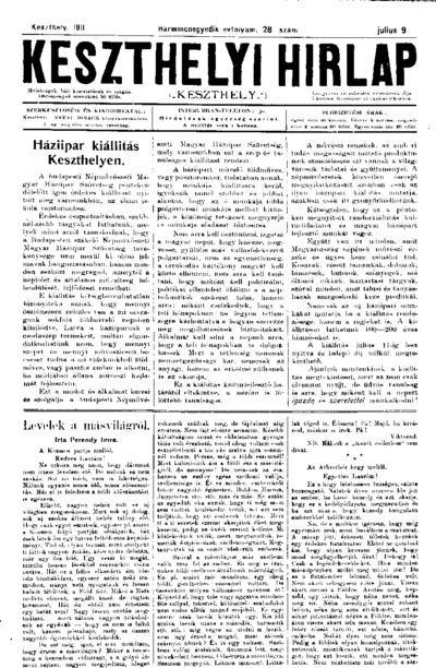 Keszthelyi Hírlap 1911.07.09.
