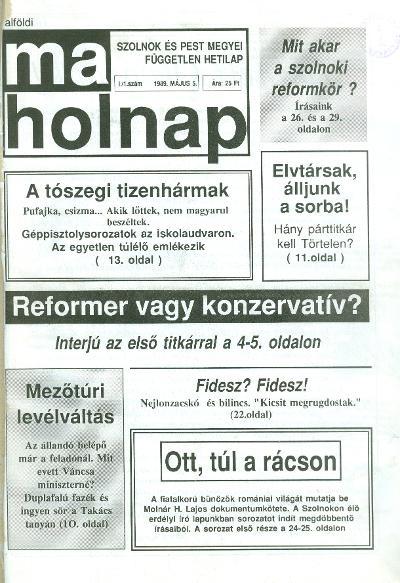 MaHolnap címlapja 1989