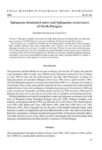 Sphagnum dominated mires and Sphagnum occurrences of North-Hungary