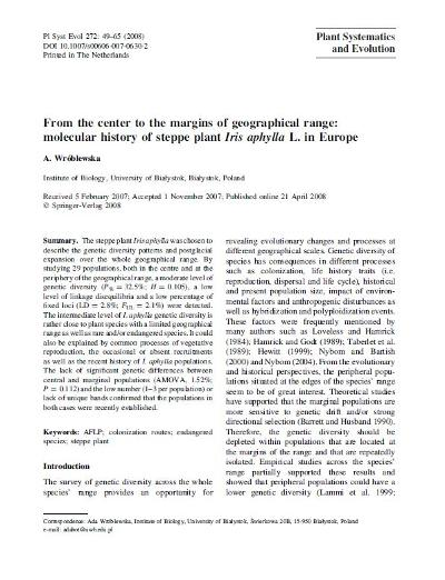 From the center to the margins of geographical range: molecular history of steppe plant Iris aphylla L. in Europe