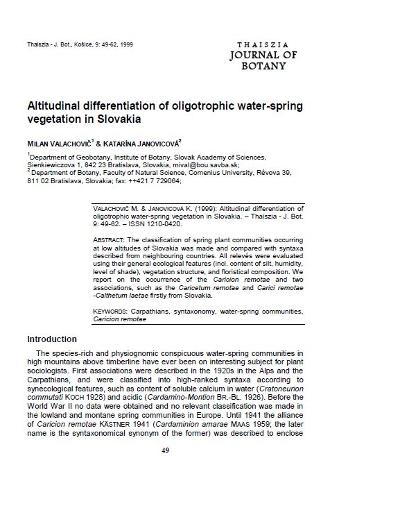 Altitudinal differentiation of oligotrophic water-spring vegetation in Slovakia