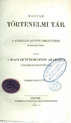 Magyar Történelmi Tár 11. kötet