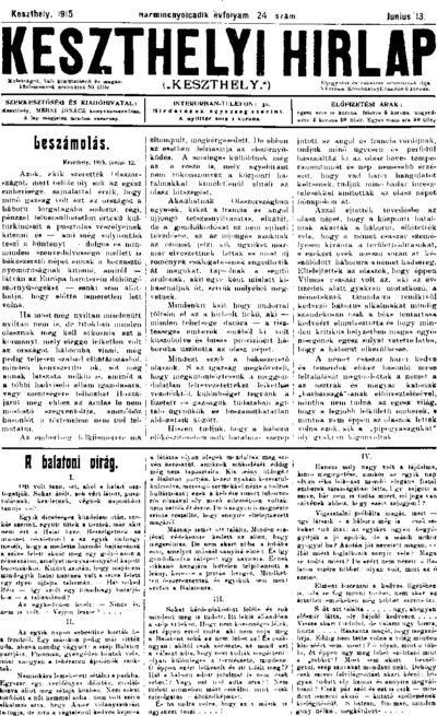 Keszthelyi Hírlap 1915.06.13.