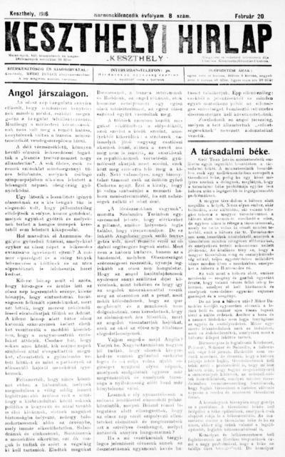 Keszthelyi Hírlap 1916.02.20.