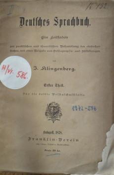 Deutsches Sprachbuch. Erster Theil