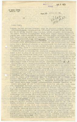 Buday Árpád levele Buday Györgyhöz