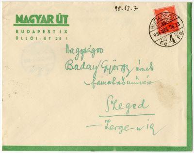 Csaba Rezső levele Buday Györgyhöz