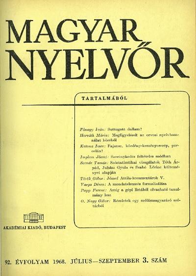 Magyar Nyelvőr 1968. július - szeptember