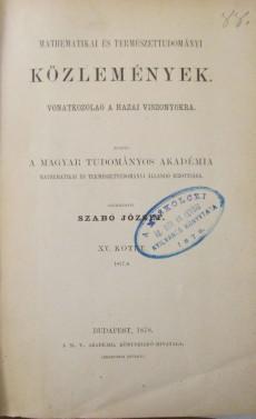 Mathematikai és Természettudományi Közlemémyek