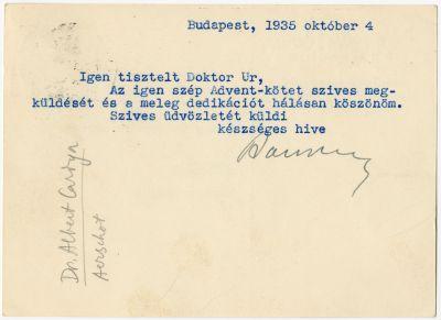 Balogh József levelezőlapja Buday Györgyhöz