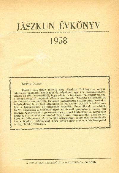 Jászkun Évkönyv 1958