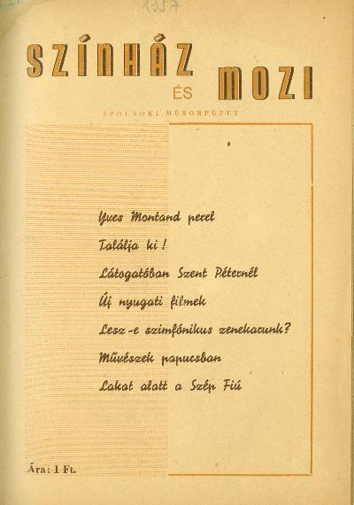 Szolnoki Színházművészet 1957