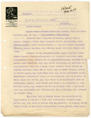 Némedy Gyula levele Buday Györgyhöz