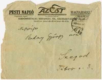 Tápay Szabó László levele Buday Györgyhöz