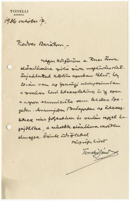 Tonelli Sándor levele Buday Györgyhöz