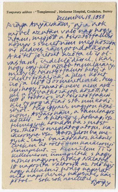 Buday György levelezőlapja Buday Árpádnéhoz