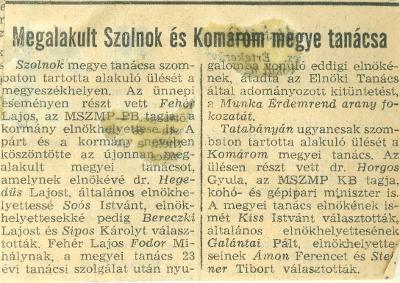 Megalakult Szolnok és Komárom megye tanácsa