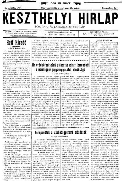 Keszthelyi Hírlap 1934.12.09.