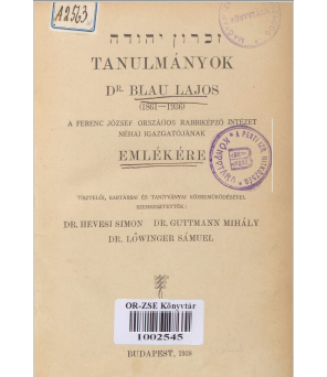 Tanulmányok_Blau_Lajos_emlekere_Lead