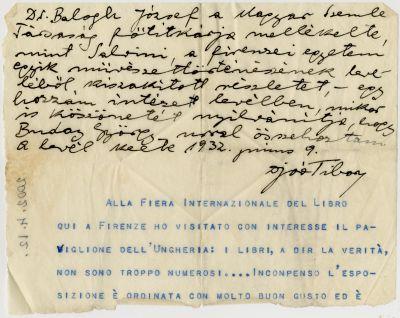 Joó Tibor levele Buday Györgyhöz