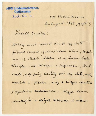 Goldziher Ignác levele Herrmann Antalnak