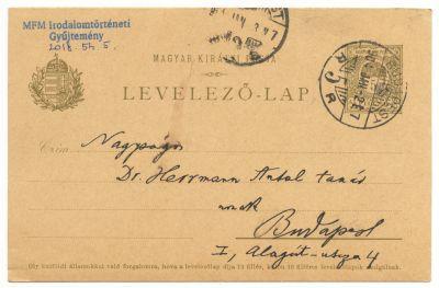 Goldziher Ignác postai levelezőlapja Herrmann Antalnak