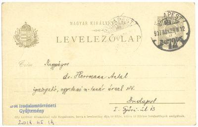 Munkácsi Bernát postai levelezőlapja Herrmann Antalnak