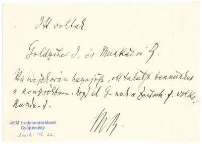 Munkácsi Bernát levele feltehetően Herrmann Antalnak