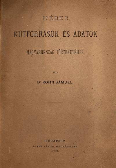 Kohn Sámuel_Kútforrások, 1891.