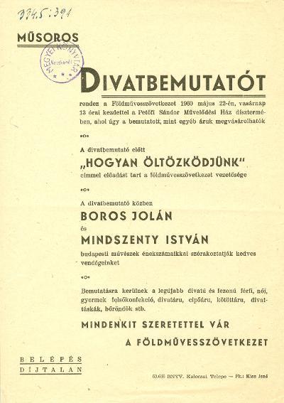 b8f484faab Magyar Nemzeti Digitális Archívum • Műsoros divatbemutató