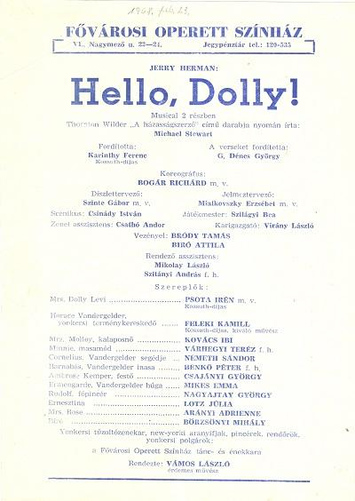Hello, Dolly! szórólap 11900