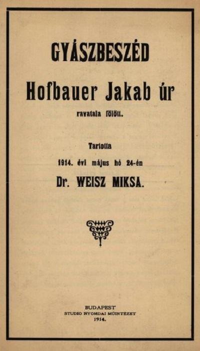 Weisz Miksa_Gyaszbeszed_1914