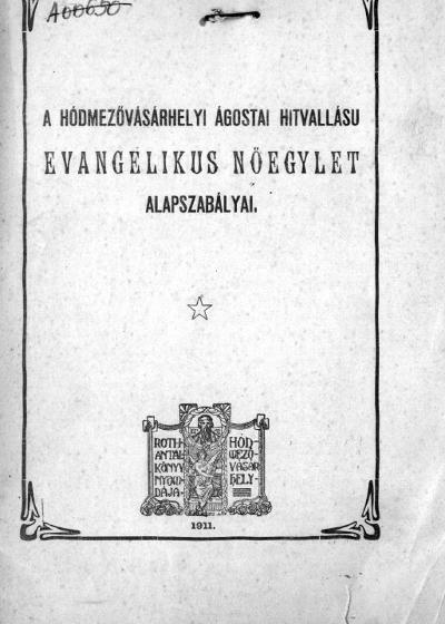 Alapszabály Evangélikus Nőegylet 1901