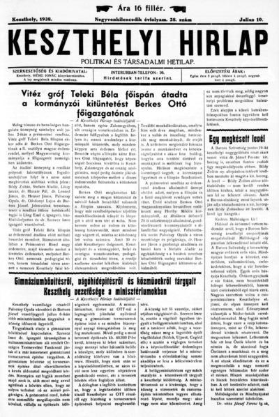 Keszthelyi Hírlap 1938.07.10.