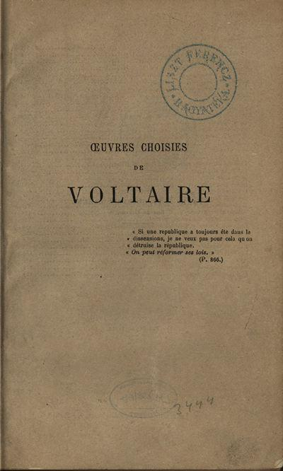 Oeuvres choisies [Voltaire]